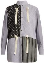 J.W.Anderson Contrast-print striped cotton-gauze shirt