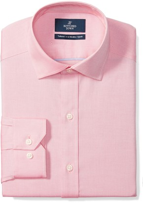 Buttoned Down Amazon Brand Men's Tailored-Fit Spread Collar Pinpoint Non-Iron Dress Shirt Without Pocket