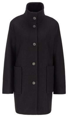 BOSS Regular-fit coat in boiled virgin wool