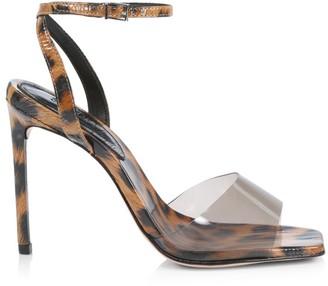 Schutz Jamili Vinyl & Leopard-Print Patent Leather Sandals