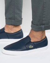 Lacoste Gazon Leather Slip On Plimsolls
