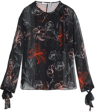 Diane von Furstenberg Floral-print Silk-chiffon Wrap Blouse
