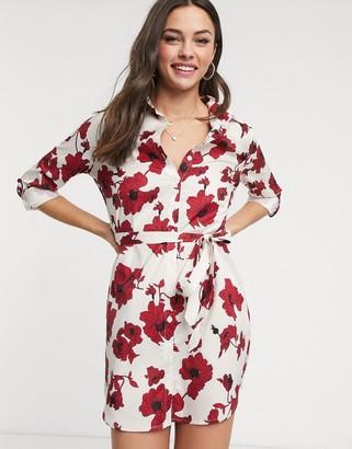 Parisian shirt dress in bold floral