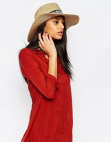 French Connection Straw Fedora Hat