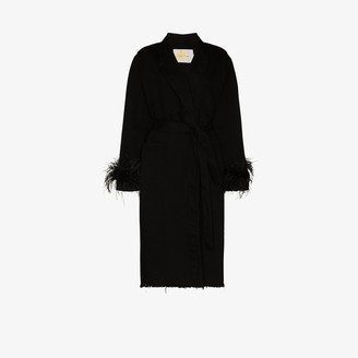 Marques Almeida Feather Trim Wrap Coat