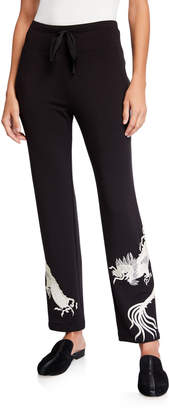 Natori Drawstring Knit Pull-On Pants with Dragon Embroidery