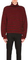 Lanvin Fisherman Rib Stitch Stripe Turtleneck Sweater in Gray,Red,Stripes.