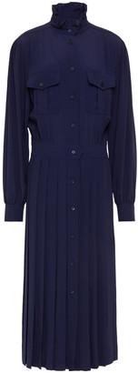 Alberta Ferretti Pleated Crepe De Chine Midi Shirt Dress
