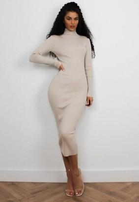 Missguided Rib Knit Roll Neck Midaxi Dress