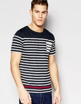 Hilfiger Denim T-shirt With Breton Stripe In Navy
