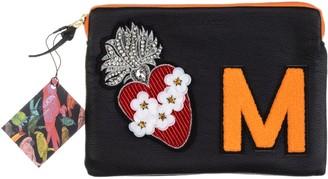Laines London Embellished Flower Heart Personalised Classic Leather Clutch Bag - Medium - Black / Orange