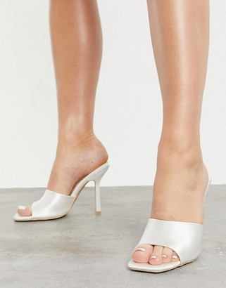 Be Mine Bridal Everly square toe mules in ivory satin