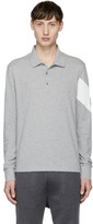 Moncler Gamme Bleu Grey Long Sleeve Chevron Polo