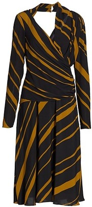 Proenza Schouler Crepe De Chine Twist Midi Dress