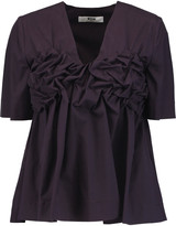 MSGM Ruched cotton-blend top