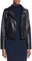 Neiman Marcus Lambskin Leather Moto Jacket