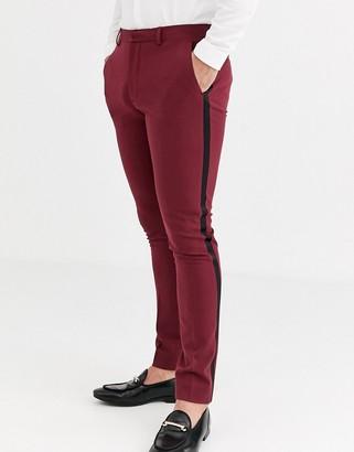 Asos Design DESIGN super skinny tuxedo trousers in burgundy-Red