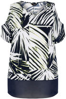 Yours Clothing YoursClothing Plus Size Womens Ladies Palm Leaf Cold Shoulder Top Sheer