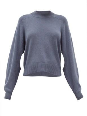 Tibi Cutout-sleeve Cashmere Sweater - Womens - Dark Blue
