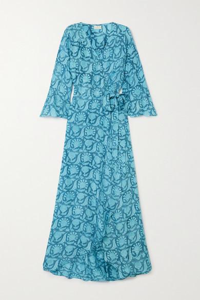 HANNAH ARTWEAR Luna Floral-print Silk Crepe De Chine Wrap Maxi Dress - Blue