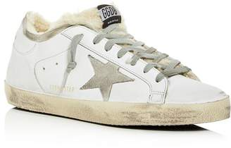 Golden Goose Unisex Superstar Leather & Shearling Low-Top Sneakers