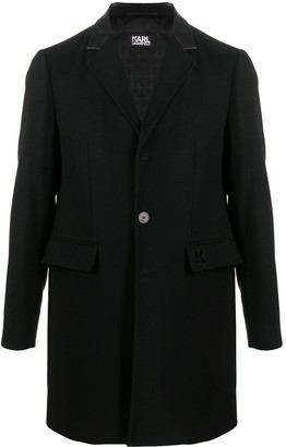 Karl Lagerfeld Paris Faux Leather-Trimmed Coat