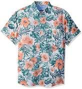 Izod Men's Saltwater Dockside Chambray Print Short Sleeve Shirt