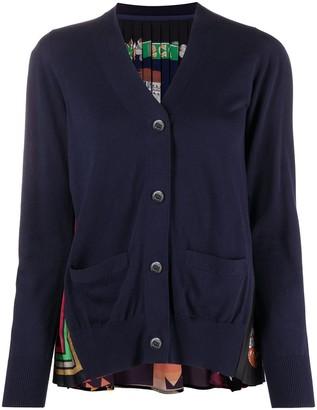Sacai Pleated-Panel Cotton Cardigan
