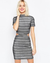 Asos Metallic Stripe T-Shirt Mini Dress