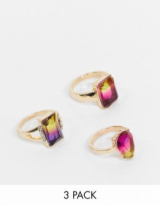 ASOS DESIGN pack of 3 rings with summer ombre jewels in gold tone
