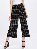 Shein Grid Print Self Tie Wide Leg Pants