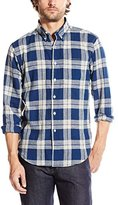 Naked & Famous Denim Men's Regular Shirt Cotton-Linen Check Navy Natural
