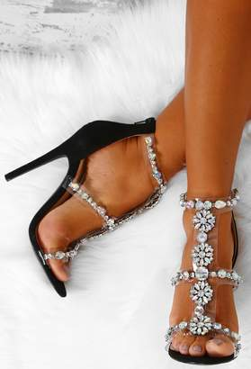 Pink Boutique Lose My Breath Black Faux Suede Embellished Heels