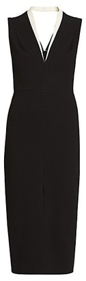 Victoria Beckham Tux Sleeveless Crepe Fitted Dress