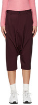 Comme des Garcons Burgundy Cropped Sarouel Trousers