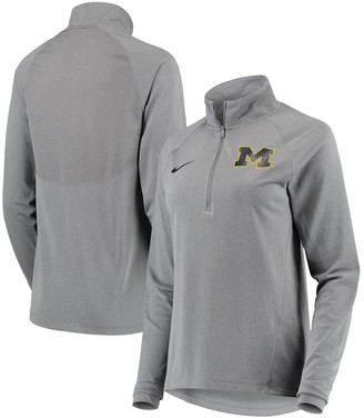 Nike Women's Heathered Gray Michigan Wolverines Element Essential Performance Half-Zip Pullover Jacket
