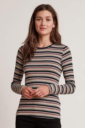 Velvet by Graham & Spencer KIA STRIPE RIBBED LONG SLEEVE CREW NECK TEE