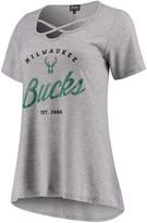 Unbranded Women's Heathered Gray Milwaukee Bucks Criss Cross Front Tri-Blend T-Shirt