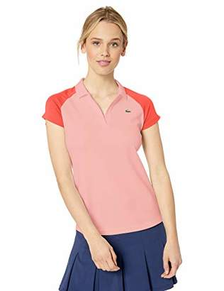 Lacoste Women's S/S Ultra Dry Polyester Color Block Tennis Polo