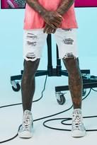 boohoo Mens White Slim Fit Heavily Distressed Denim Shorts, White