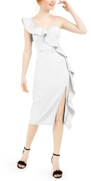 Aidan Mattox Ruffled One-Shoulder Midi Dress