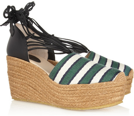 Chloé Striped canvas and leather wedge espadrilles
