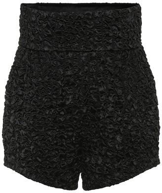 Saint Laurent Smocked satin high-rise shorts