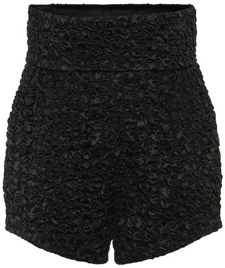 Saint Laurent Smocked satin high-rise shorts