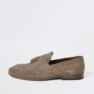River Island Stone suede tassel front textured loafers