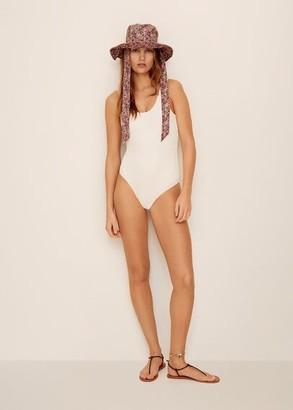 MANGO Textured swimsuit white - S - Women