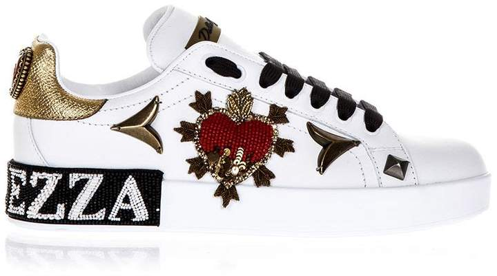 Dolce & Gabbana Embellished Portofino White Leather Sneakers
