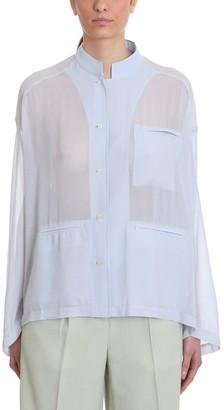 Acne Studios Shana Poly Shirt In Cyan Polyester