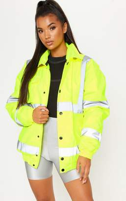 PrettyLittleThing Neon Yellow High Vis Coat