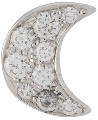 Dodo 18kt White Gold Crescent Moon Diamond Stud Earring